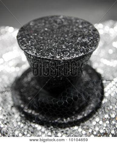 Black Glitter Top Hat