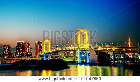 Panorama of illuminated Tokyo Night lights Concept