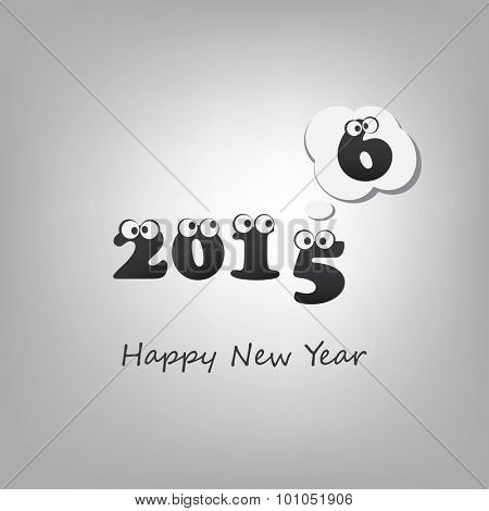 Another Year Passed - Numerals with Rolling Eyes - Abstract Black and White Modern Style Funny Happy New Year Greeting Card or Background, Creative Design Template - 2016