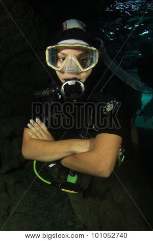 Sexy beautiful female diving instructor