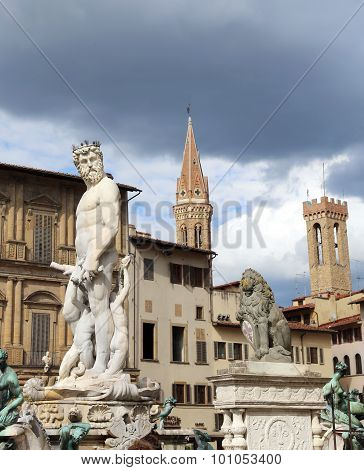 Fountain Of Neptune In Florence Italy