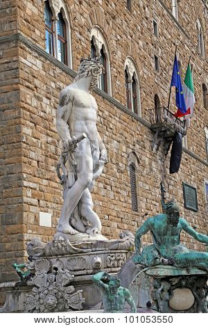 White Statue Of Neptune In The Fountain In Florence