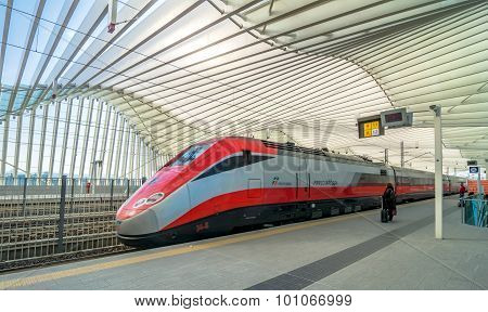 High Speed Train And Station In Reggio Emilia, Italy
