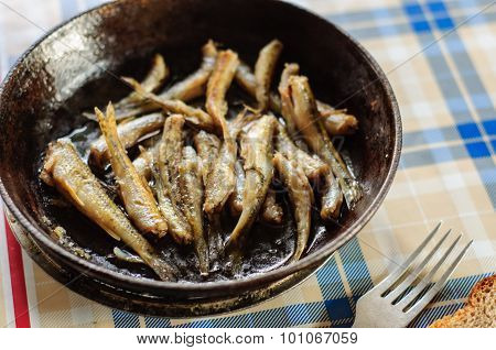 Roasted Fresh River Fish On Cast Iron Pan