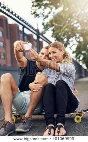 Romantic Young Couple Taking A Selfie