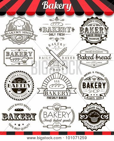 Bakery Vintage Design Elements And Badges Set. Collection Of Vector Baked Goods Signs, Symbols And I