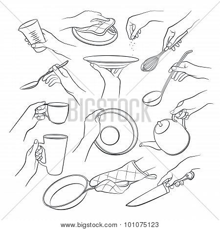 Woman hand with kitchen tools.
