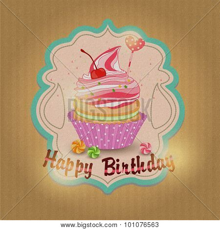 Vector illustration of label with sweets, fruit cake birthday.