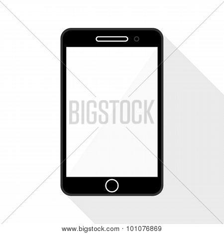 Smartphone Flat Icon With Long Shadow On White Background
