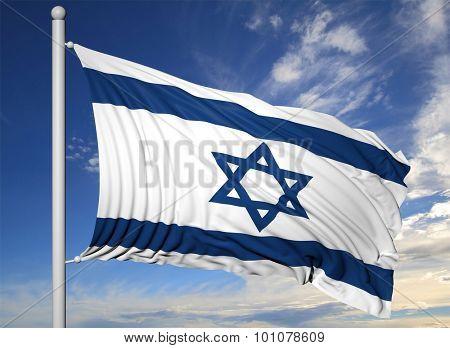 Waving flag of Israel on flagpole, on blue sky background.