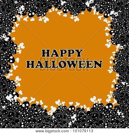 happy halloween frame vector