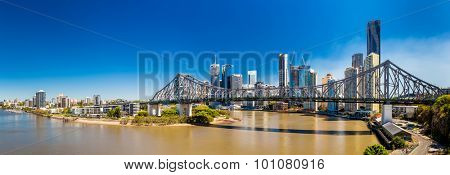 BRISBANE, AUS - SEPTEMBER 9 2015: Panoramic view of Brisbane Skyline with Story Bridge and the river. It is Australias third largest city, capital of Queensland.