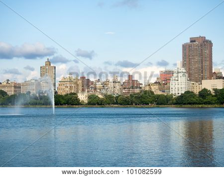 The Jacqueline Kennedy Onassis reservoir at Central Park in New York poster