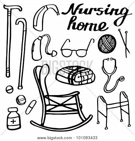 Nursing home set. Hand-drawn stuff for elderly home. Doodle drawing.