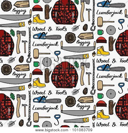 Lumberjack set, wood and tools. Hand-drawn seamless cartoon pattern with logging elements. Vector il