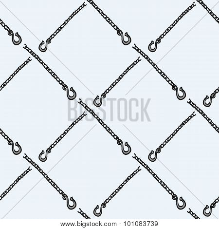 Chain with a hook - wood and tools. Hand-drawn seamless cartoon pattern with logging device. Vector