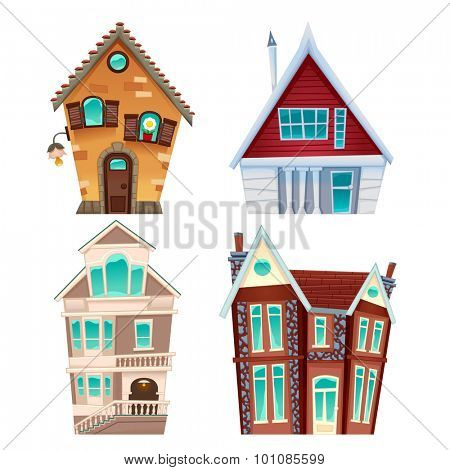 Set of houses. Vector cartoon isolated items for games and graphics.