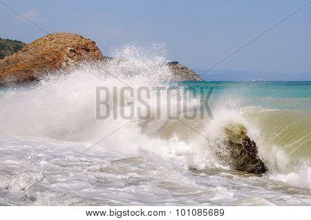 Big sea wave. Landscape