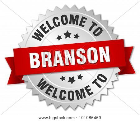 Branson 3D Silver Badge With Red Ribbon