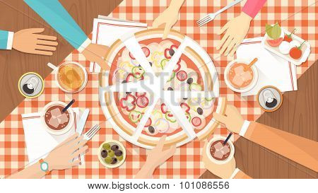 Group Of Friends Eating Pizza Together