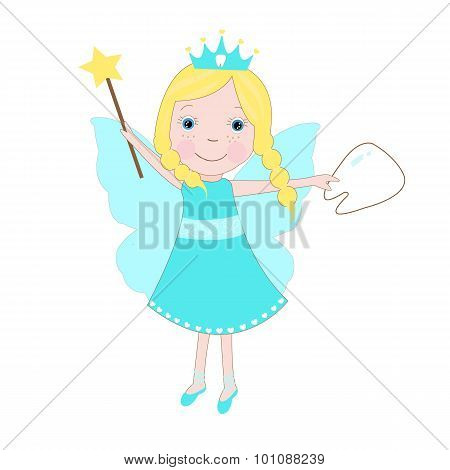 Happy tooth fairy tale isolated vector background