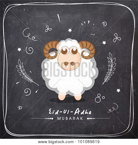 Illustration of sheep on chalkboard background for Muslim community Festival of Sacrifice, Eid-Ul-Adha celebration.
