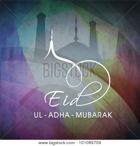 Elegant greeting card design with mosque on grungy colorful background for Islamic Festival of Sacrifice, Eid-Ul-Adha celebration.