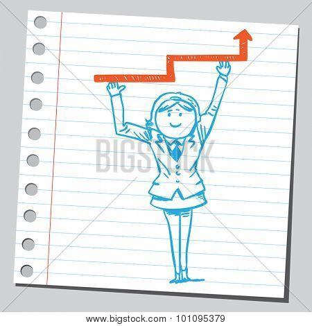 Businesswoman holding progress arrow