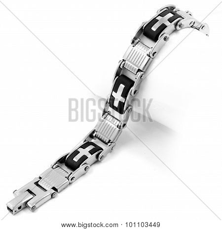 Men's bracelet. Stainless steel and rubber. Bracelets are on a white background poster