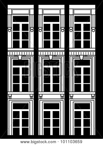 nine vintage windows arranged in a vertical composition. Three windows on each line. Black and white.