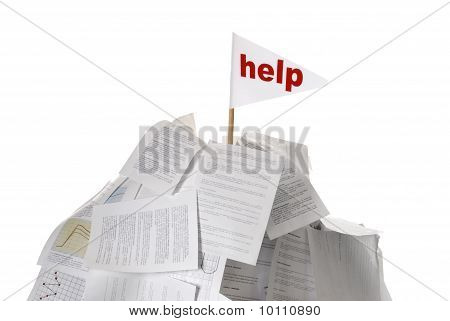 Heap Of Papers With Help Flag Sticking Out