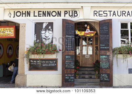 PRAGUE, CZECH REPUBLIC -  SEPTEMBER 05, 2015: Photo of John Lennon pub.