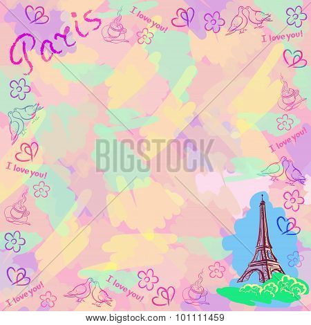 Colorful Vector Background With The Sights Of Paris.