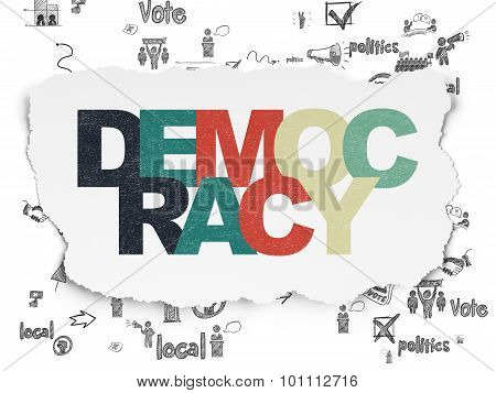 Political concept: Painted multicolor text Democracy on Torn Paper background with Scheme Of Hand Drawn Politics Icons poster