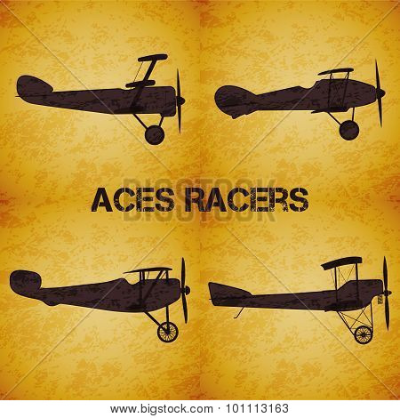 Set of vector retro airplane WW1