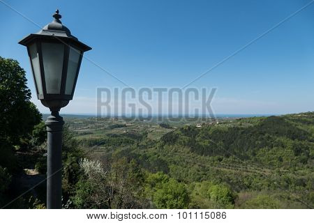View on the Istrian countyside with streetlight in front view