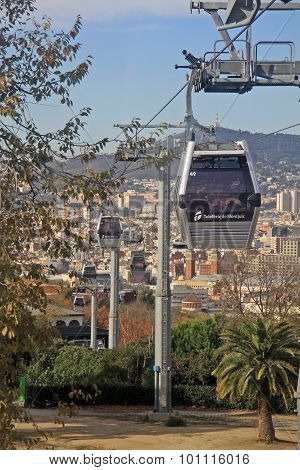 Barcelona, Spain - 14 December, 2011: Teleferic De Montjuic (overhead Cable Ways), View From The Cab