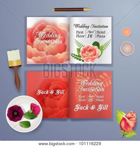 Wedding card or invitation with abstract floral background for wedding agency. Elegance pattern with mesh flowers. Floral illustration in modern minimal style for your business.