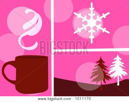 a christmas collage of a mug a snowflake and two fir trees poster