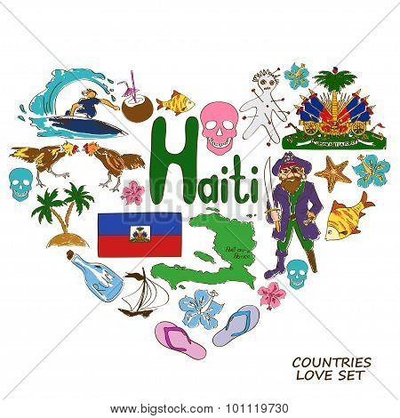 Haitian Symbols In Heart Shape Concept