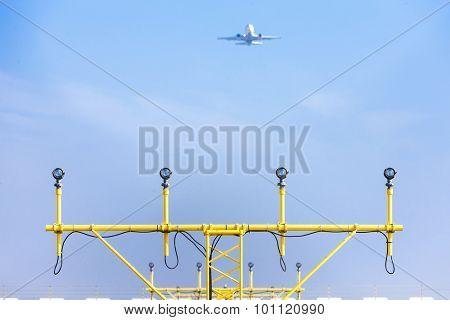 landing lights on runway, Prague, Czech Republic