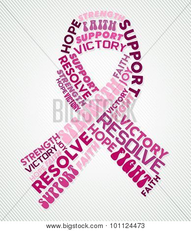 Breast Cancer Awareness Pink Ribbon Text Collage