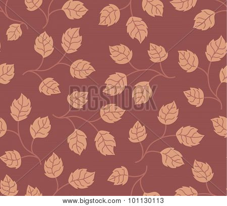 Seamless pattern autumn leaves colored in modern marsala pantone