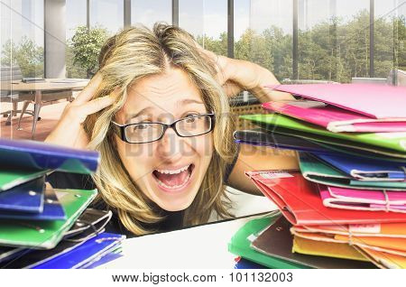 stressed woman scream at work under  backlog files