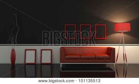 modern interior room 3D with nice furniture inside