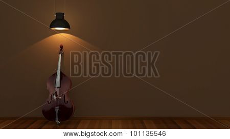 interior design with classical contrabass