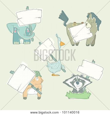 Hand-drawn cartoon vector collection of animals with posters