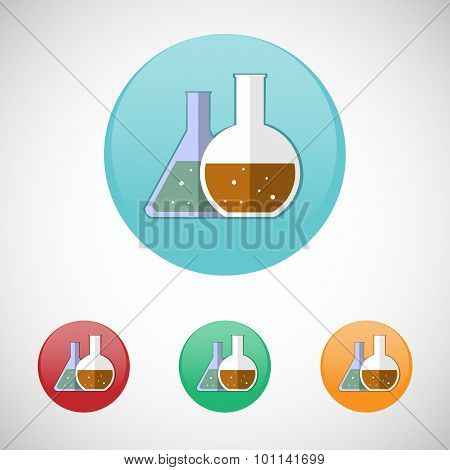 Medical Mixtures In Flasks Vector Icon Set.
