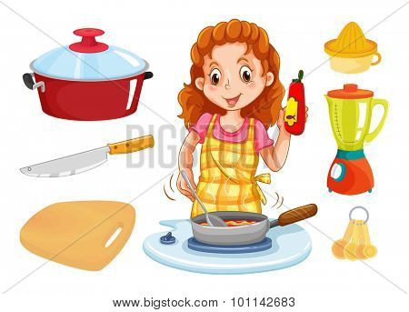 Woman cooking and kitchenwares illustration