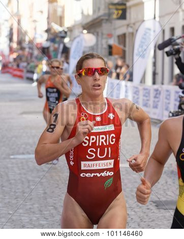 Triathlete Nicola Spirig Running, Followed Competitors